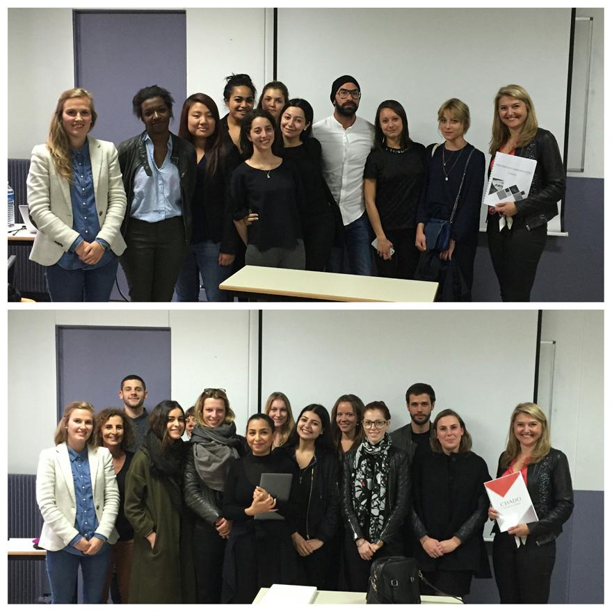 Les étudiants en 4e année de l'EFAP en présence de Laëtitia GOFFARD, Vice-Présidente de la société CHADO