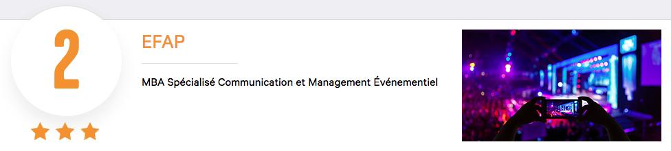 EFAP - MBA Spécialisé Communication Evenementiel Classement Eduniversal Podium