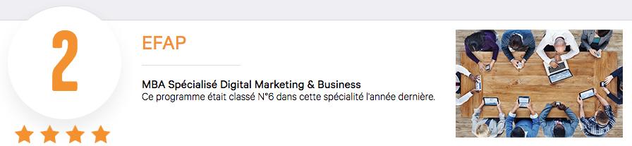EFAP Marketing Digital Business Classement Eduniversal Podium