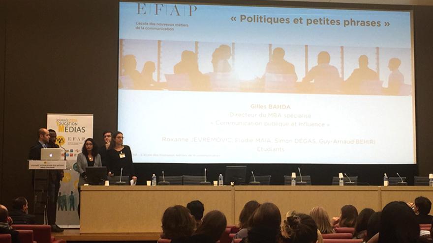 Les petites phrases des politiques avec Gilles Bahda, directeur du MBA Spécialisé Communication Publique et Influence de l'EFAP avec des étudiants du MBA.